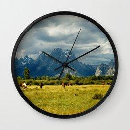 Horses and the Grand Teton Wall Clock