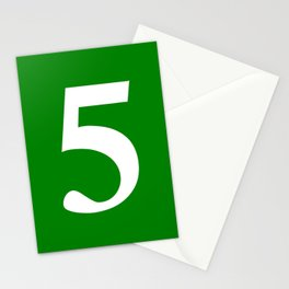 5 (WHITE & GREEN NUMBERS) Stationery Cards