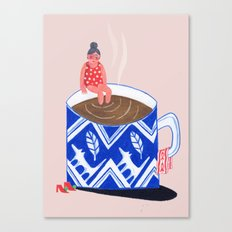 Morning Coffee swim Canvas Print