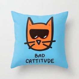 Bad Cattitude Throw Pillow