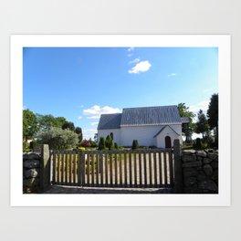 Little White Church in Denmark  Art Print