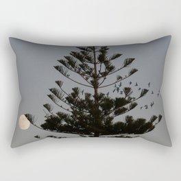 Araucaria tree, full moon, flight of birds Rectangular Pillow