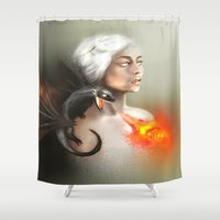 mother of dragons Shower Curtains featuring mother of dragons  by KazuneKoi