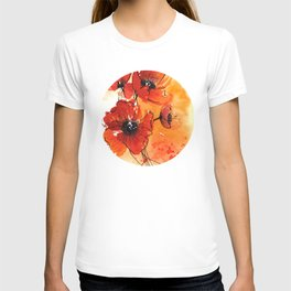 Red Poppy Flowers Watercolor Painting T-shirt