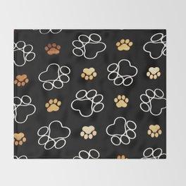 dog pawprint tracks background pet Throw Blanket