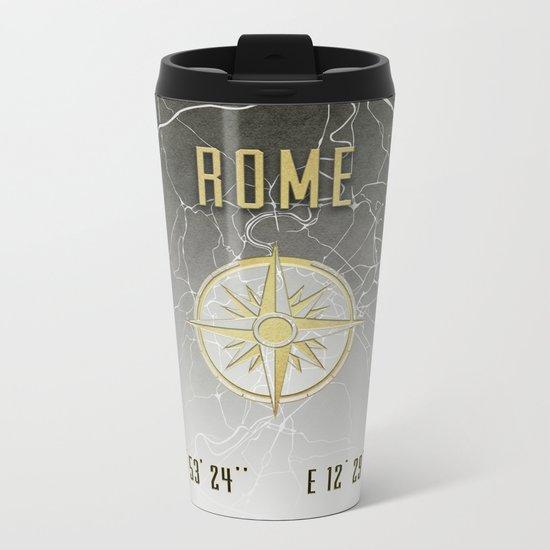 Rome - Vintage Map and Location Metal Travel Mug