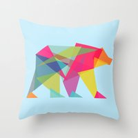 Throw Pillows featuring Fractal Bear - neon colorways by Picomodi