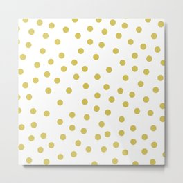 Simply Dots in Mod Yellow on White Metal Print