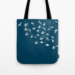 Flying Free (on Blue) Tote Bag