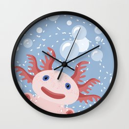 Cute Axolotl and The Bubbles Wall Clock
