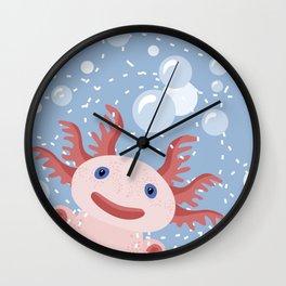 Cute Axolotl and The Bubbles Wall Clock