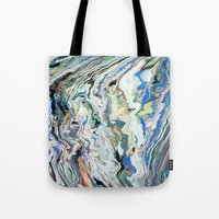 geology Tote Bags featuring Fluctuating Geology by Christina Stavers