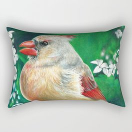 Cardinal Female Colored Pencil Bird Artwork Drawing Rectangular Pillow