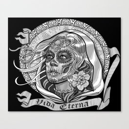 Black and White Catrina (Day of the Dead) Canvas Print