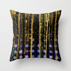 364 3 Abstract Gold Streaked Midnight Polka Dots Throw Pillow