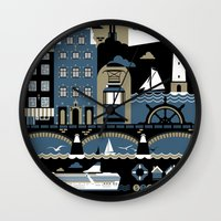 stockholm Wall Clocks featuring Stockholm by koivo