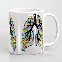 lungs Mugs featuring Psychedelic Lungs  by Cash Blake