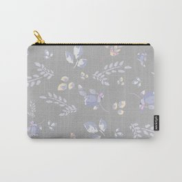 Spring colors watercolor leaves & tulips on light grey background Carry-All Pouch