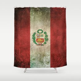 Old and Worn Distressed Vintage Flag of Peru Shower Curtain