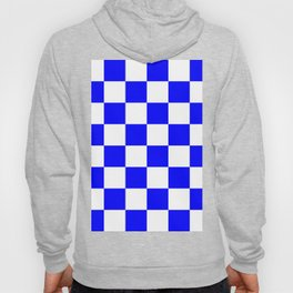 Large Checkered - White and Blue Hoody
