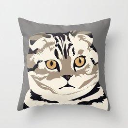 Scottish Fold Kitty Cat Throw Pillow