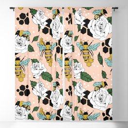 Bees on the flowers Blackout Curtain