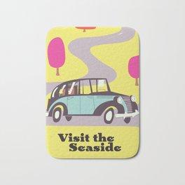 Visit the Seaside vintage car poster Bath Mat