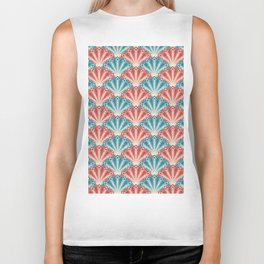 Colorful Abstract Peacock Feather Pattern Biker Tank