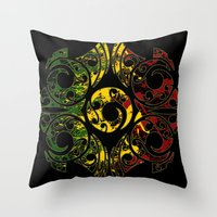 maori Throw Pillows featuring Rasta Colors on Maori Patterns by Lonica Photography & Poly Designs