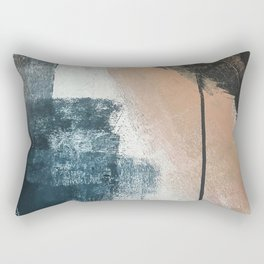 Honey 1: a pretty, minimal abstract in midnight blue, rose gold, and white Rectangular Pillow