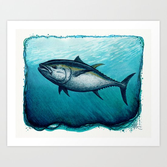 Bluefin Tuna ~ Watercolor Painting by Amber Marine, (c) 2016 Art Print