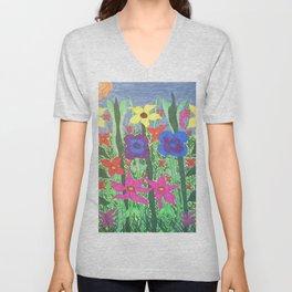 Bohemian Garden Floral Ilustration Unisex V-Neck