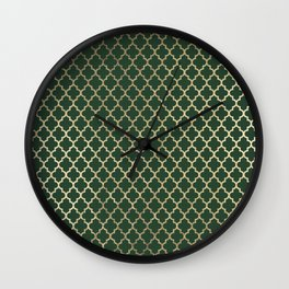 Forest green faux gold stylish moroccan quatrefoil Wall Clock