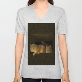 Young squirrels peering out of a nest #decor #buyart #society6 Unisex V-Neck