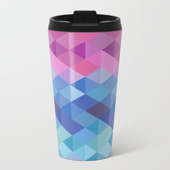 Retro Geometry Metal Travel Mug