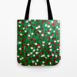 Red and White Flowers on Green Grass Tote Bag