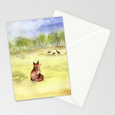 Red Fox Watching Wild Turkeys - Watercolor Stationery Cards