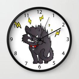 cartoon scared black cat Wall Clock