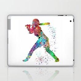 Baseball Softball Player Sports Art Print Watercolor Print Girl's softball Laptop & iPad Skin
