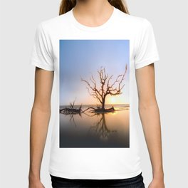 Driftwood Reflection Along the Waters Edge on Jekyll Island Beach T-shirt
