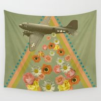 planes Wall Tapestries featuring in my world, flowers come out of army planes by AmDuf