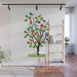 Colorful birds Wall Mural