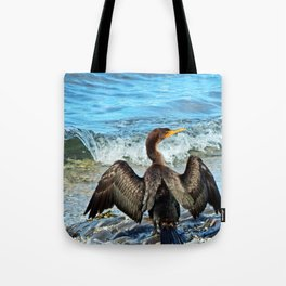Cormorant and the Wave Tote Bag