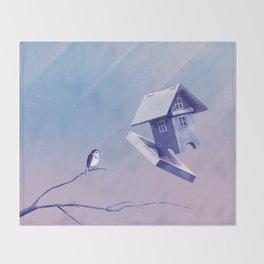 Freezing Bird...house Throw Blanket
