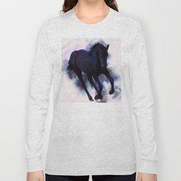 A Friesian foal's morning joy Long Sleeve T-shirt