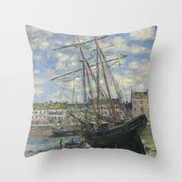 Claude Monet - Boats Lying at Low Tide at Facamp Throw Pillow
