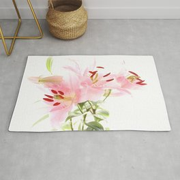 Flower lights in pink and white Rug