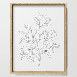 Minimal Line Art Magnolia Flowers Serving Tray