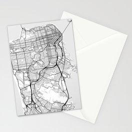 Scandinavian map of San Francisco Penninsula Stationery Cards