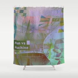 Man vs Machine (mixed media) Shower Curtain